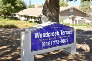 "Woodcreek Terrace sign ""Senior Living Community"", (916 )773-9078"