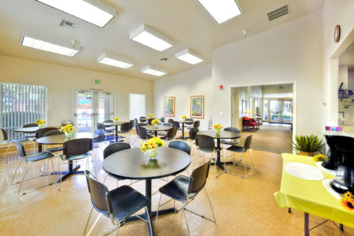 Bright Dining Hall with tables and chairs, yellow flowers
