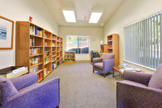 Library room, long bookshelf, 3 smaller book shelves, seating area