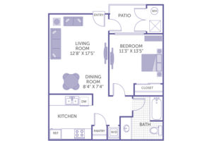 """1 bed 1 bath floor plan, living room 12' 8"""" x 17' 5"""", bedroom 11' 3"""" x 13' 5"""", dining room 8' 4"""" x 7' 4"""", patio, kitchen and pantry, washer and dryer, 1 closet"""