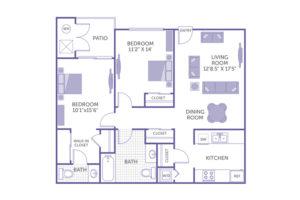 "2 bed 2 bath floor plan, bedroom 11' 2"" x 14', bedroom 10' 1"" x 15' 6"", living room 12' 8.5"" x 17' 5"", dining room, patio, walk-in closet, 3 closets, washer and dryer"