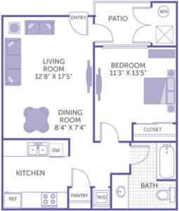 "1 bed 1 bath floor plan, living room 12' 8"" x 17' 5"", bedroom 11' 3"" x 13' 5"", dining room 8' 4"" x 7' 4"", patio, kitchen and pantry, washer and dryer, 1 closet"