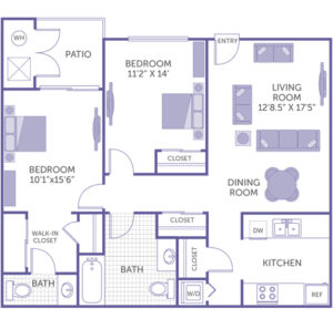 """2 bed 2 bath floor plan, living room 12' 8.5"""" x 17' 5"""", dining room, kitchen, washer and dryer, 4 closets, 1 walk-in closet, patio"""
