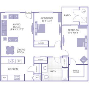 """2 bed 1 bath floor plan, living room 12' 8.5"""" x 17' 5"""", bedroom 11' 2"""" x 14"""", bedroom 10' 1"""" x 15' 6"""", kitchen, 4 closets, 1 walk-in closet"""