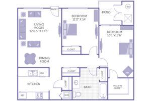 """2 bed 1 bath floor plan, living room 12' 8.5"""" x 17' 5"""", dining room, bedroom 11' 2"""" x 14"""", bedroom 10' 1"""" x 15' 6"""", walk in closet, kitchen, washer and dryer, 4 closets, 1 walk-in closet"""