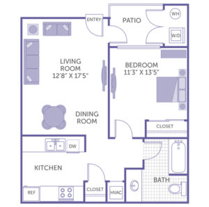 "1 bed 1 bath floor plan, bedroom 11' 3"" x 13' 5"", kitchen, dining room, living room 12' 8"" x 17' 5"", patio with washer and dryer, 2 closets"