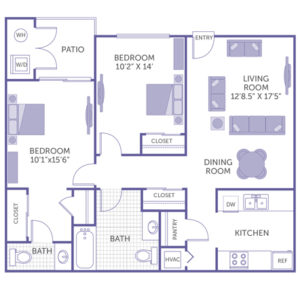 """2 bed 2 bath floor plan, bedroom 10' 2"""" x 14', bedroom 10' 1"""" x 15' 6"""", kitchen and pantry, dining room, living room 12' 8.5"""" x 17'' 5"""", patio with washer and dryer, 4 closets"""