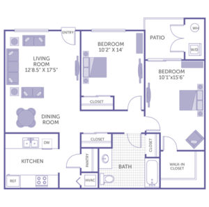 """2 bed 1 bath floor plan, kitchen and pantry, dining room, living room 12' 8.5"""" x 17' 5"""", bedroom 10' 2"""" x 14', bedroom 10' 1 x 15' 6"""", patio and washer and dryer, 1 walk-in closet, 3 closets"""